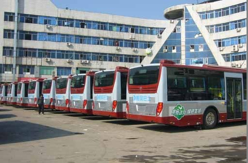 green buses appear on Yiwu